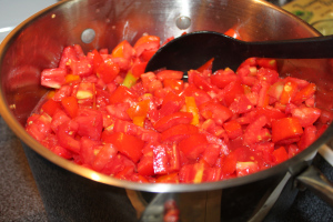 A fresh batch of salsa getting started - nothing beats the freshness of your own garden produce!